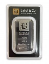Buy 100g platinum bar ARGOR & Baird Minted bar